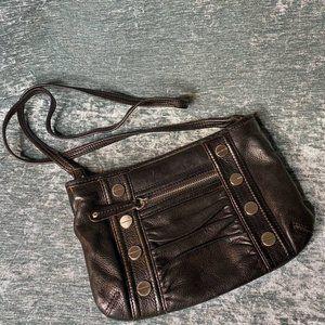 B Makowsky Small Black Leather Bag